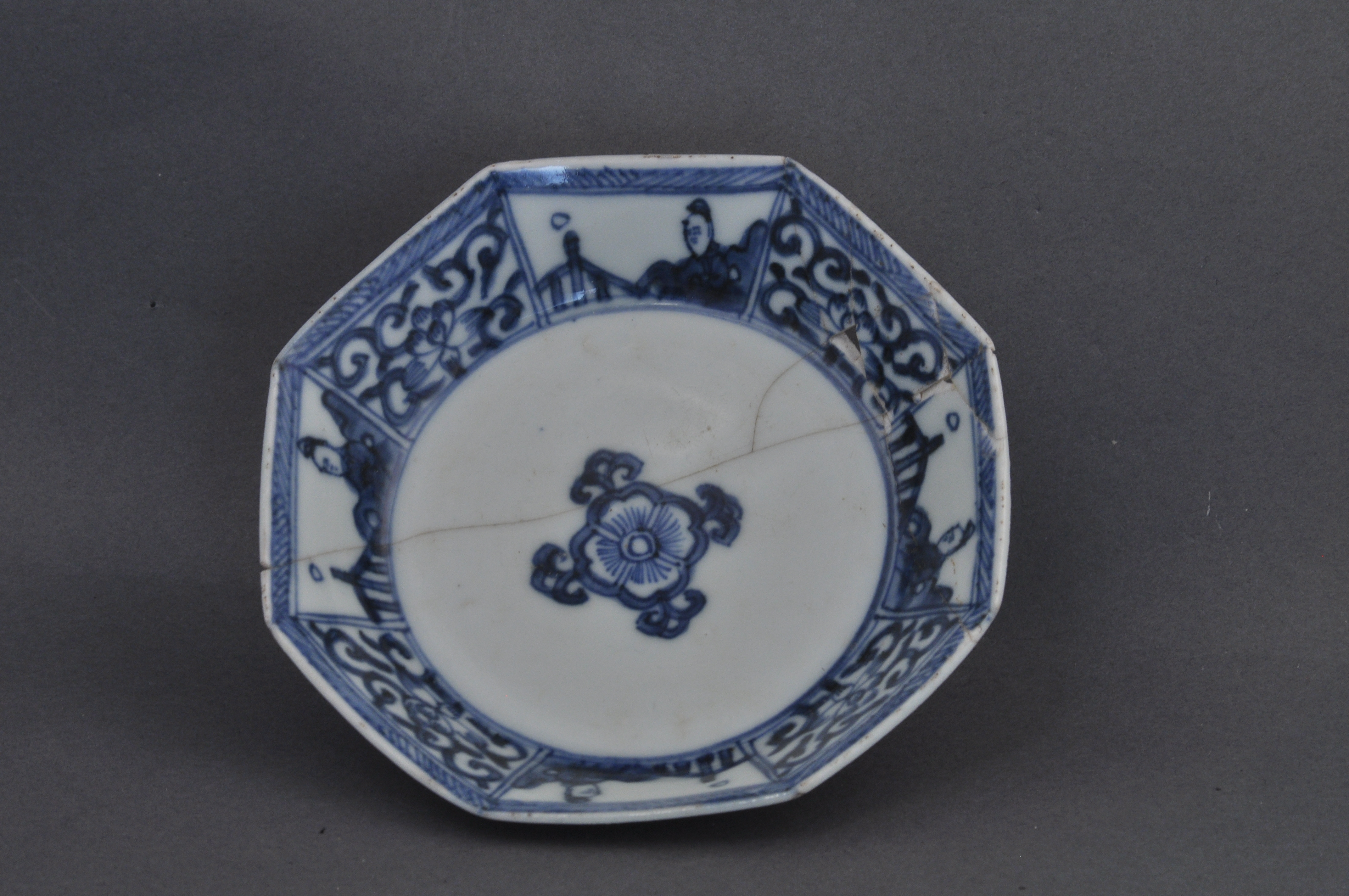 Jingdezhen, China, ca. 1740. Hard-paste porcelain with hand-painted underglaze cobalt blue decoration. Drayton Hall Archaeological Collection. Photograph by Mr. Russell Buskirk.